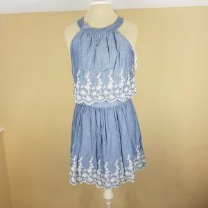 Pim + Larkin Chambray Dress with Eyelet Details